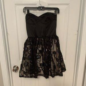 Black/Gold Strapless Dress